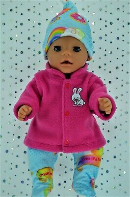 """Play n Wear Doll Clothes To Fit 17"""" Baby Born HOT PINK JACKET~TIGHTS~HAT"""