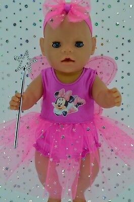 """Play n Wear Doll Clothes For 17"""" Baby Born CANDY PINK FAIRY~PANTS~HEADBAND~WAND"""