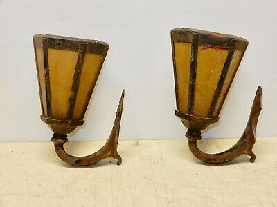 Antique Pair Arts And Crafts Entry Or Porch Lights Brass And Copper