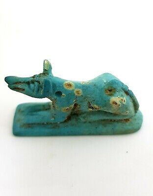 Rare Anubis Amulet Ancient Egypt Faience  Egyptian Nile Mummy Bead Necklace Ca