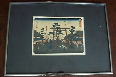 SUPER DEAL!! Original Hiroshige Japanese Woodblock Print- Framed
