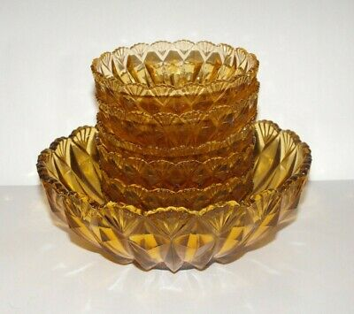 Master + 6 Serving Bowls Amber Depression Glass Crown Crystal Series 82 c.1935