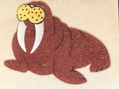 1 VINTAGE 80's PERSONAL EXPRESSIONS FUZZY WALRUS  STICKER 1 x 2