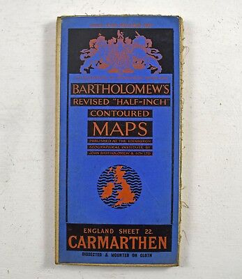 Bartholomew's Revised Half Inch Contoured Map - Carmarthen Sheet 22