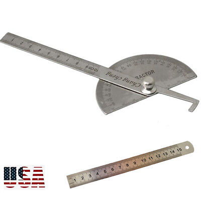 SAE Stainless Steel Rotary Protractor Angle Rule Gauge Machinist Tool
