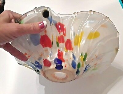 Vintage Murano clear Multicolored spatter art Glass Bowl Dish Hand Blown. Large