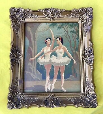 Vintage Paint By Number In Gold Foam Frame BALLERINA BALLET  Mid Century 60s PBN