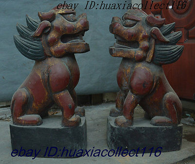 Old China Dynasty Palace Wood Lacquerware Fengshui Wealth Kylin Beast Statue Set