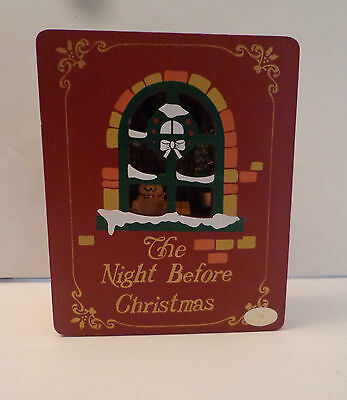 The Night Before Christmas Wood Book Animated Music Box Plays Here Comes Santa