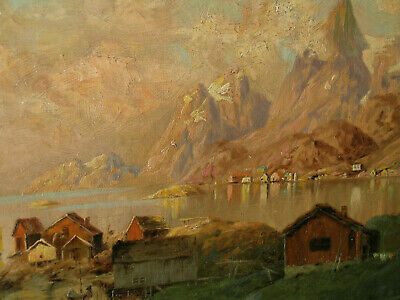 Hungarian Antique oil painting, 19th Century;  seaside and mountain view