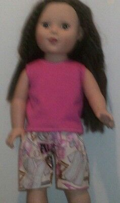 Pink Daisy Midriff Short Set 18 in Doll Clothes Fits American Girl