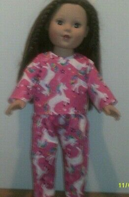 """18"""" doll clothes-fits American Girl Boy  My Life-Pajamas-Flannel-Pink Unicorn"""