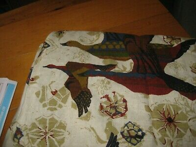 """Vintage Large bird wheat color pure imported """" linen table cloth mint 60 W x 72"""