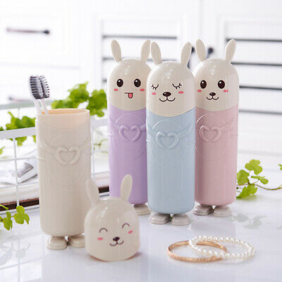 1PCS Portable Travel Kids Cartoon Stand Rabbit Cute Toothbrush Holder Container