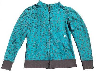 Fox Girls Juniors Sweatshirt Sz L Hoodie Jacket Zip Up Teal Gray Print Skulls