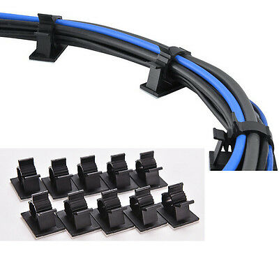 New Black 10 Pcs Adhesive Backed Nylon Wire Adjustable Cable Clips Clamps $B