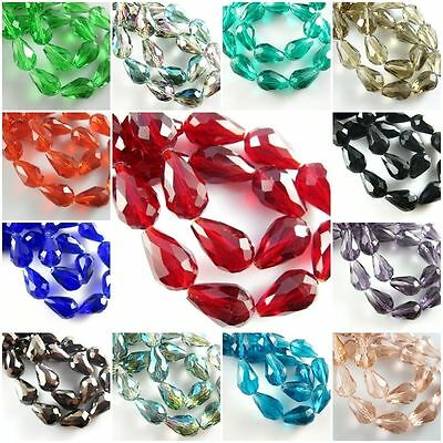 Lots Faceted Teardrop Glass Crystal Jewelry Making Loose Spacer Beads DIY Acces