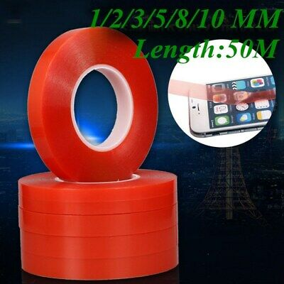 50M Double Sided Super Sticky Clear Tape Red Strong Craft DIY Roll 3 5 8 10mm