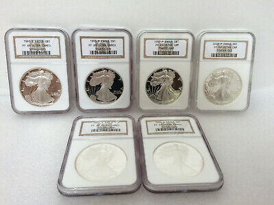 American Eagle Proof ULTRA CAMEO *PF69 NGC* MIXED LOT of 6 Silver Bullion Coins