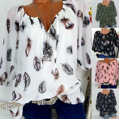 Womens Off Shoulder Long Sleeve Blouse Casual Loose T Shirt Size Plus Tops V2U8