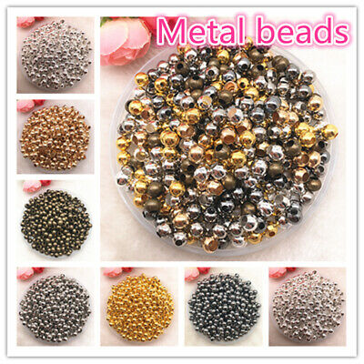 3/4/5/6/8mm Gold/SilverMetal Beads Smooth Ball Spacer Beads For Jewelry Making