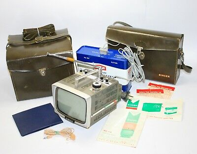 1965 Rare Vintage Singer Tv-6 Micro Television + Battery Pack, Case, User Manual