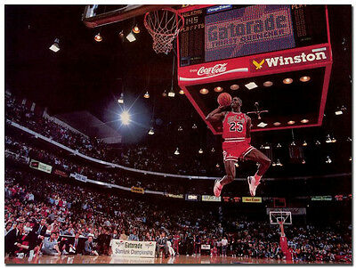 "Michael Jordan Dunk Vintage Sports Silk Poster 24x36"" Bedroom Wall Decor"