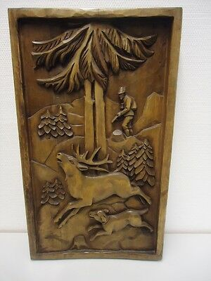 Antique Black Forest Carved Wood Wall Plaque-Antlers-Oak Wood Carving-Red Stag