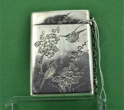 Antique Chinese 19 c Export Silver Card Case Fine chased Birds  Wang Hing marks