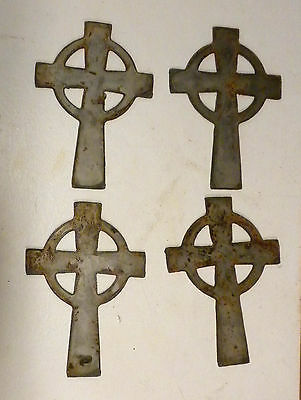 "Lot of 4 Celtic Cross Shapes 4"" Rusty Metal Art Vintage Ornament Craft Sign"