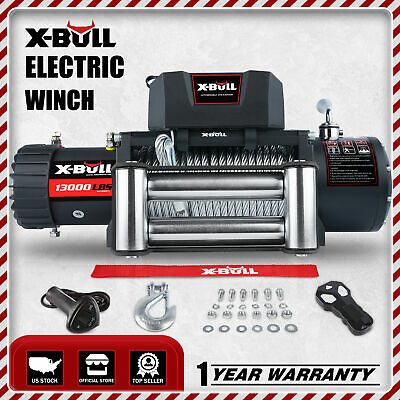 X-BULL 12V 13000LBS Electric Winch Recovery Winch Steel Cable 4WD Towing Track