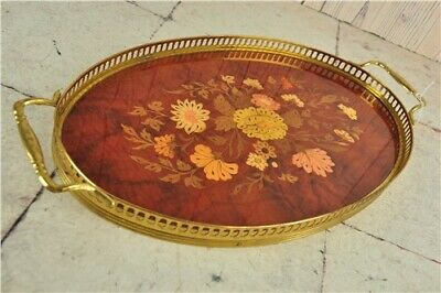 """Vintage Oval Floral Inlaid Wooden & Brass Handled Serving Tray 16"""" x 8.75"""""""