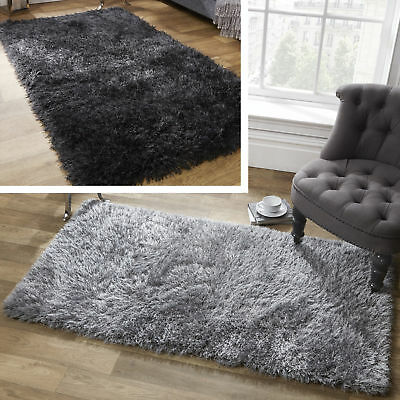 Large Sienna Shaggy Floor Rug Plain Soft Sparkle Area Mat 5cm Thick Pile Glitter