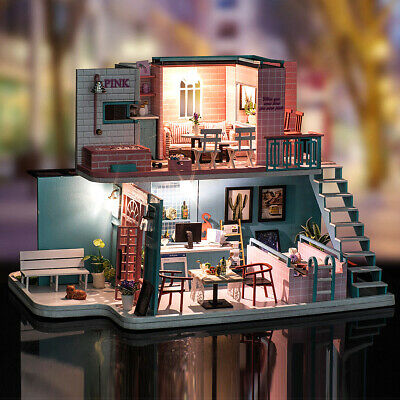 DIY Wooden Doll House Miniature Kit Ancient Architecture Dollhouse Toy Gifts