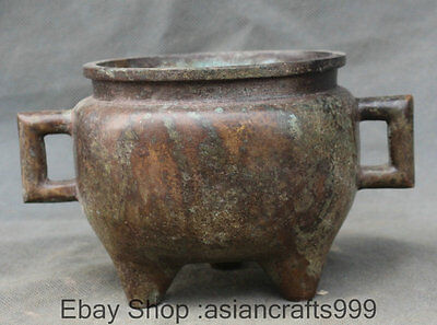 15CM Marked Old China Palace Bronze 3 Foot Griff Blume Duft-Brenner Räuchergefäß