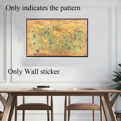 Vintage World Map Nautical Ocean Wall Sticker Kraft Poster Pictures Painting New