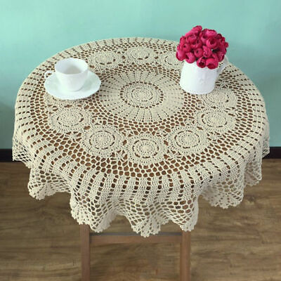 "35"" Round Hand Crochet Tablecloth Vintage Lace Table Cloth Topper Floral Doily"