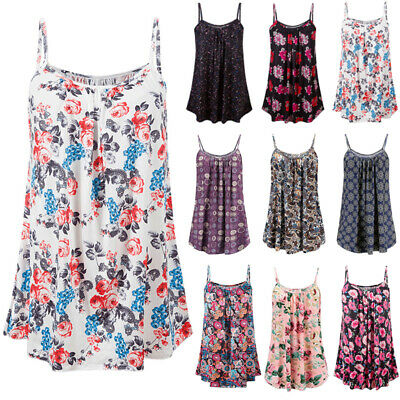 Womens Summer Camisole Holiday Floral Swing Dress Ladies Loose Tank Tops Blouse