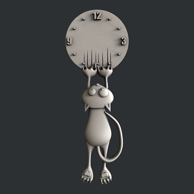 3d STL models for CNC, Artcam, Aspire, relief clock cat