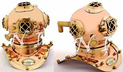 Antique Scuba Copper & Brass Diving Helmet US Navy Mark V Deep Sea Marine Divers