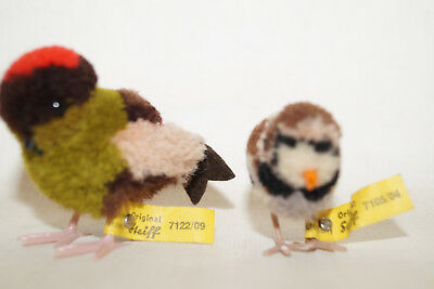 Steiff vintage Spatz/Sperling 7105/04 &7122/09 Vogel Wolltier 60th Wollminiatur