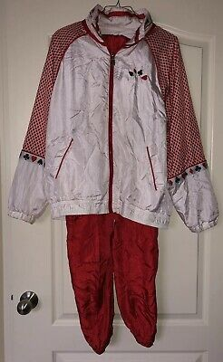 RARE Vtg 80's 90's POKER CARD RED Pink Lavon Nylon Windbreaker TrackSuit LARGE