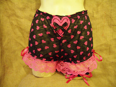 Black pink hearts short bloomers with matching garter! 1950's,pin-up,vintage!