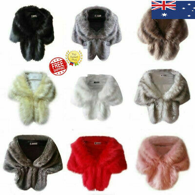 Winter Warm Women Bridal Faux Fur Shawl Stole Wrap Shaggy  Scarf Outwear AU