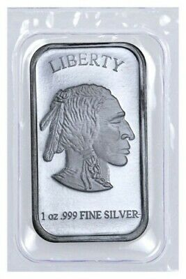 1 oz .999 Fine Silver Buffalo Liberty Bar (Sealed in Plastic)