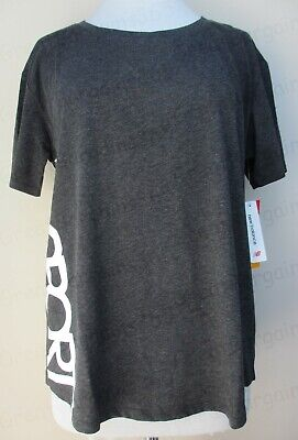 Ladies New Balance NB Dry T-Shirt Top Gym Running Workout Logo Grey L UK14 BNWT