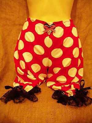 Red white polka dot bloomers!Black lace,candy cane! Rockabilly,pin up 1950's!