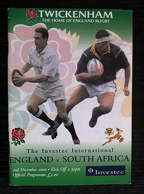 2000 ENGLAND v SOUTH AFRICA 2 Dec 2000 RUGBY PROGRAMME and TICKET