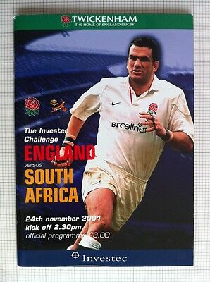 2001 ENGLAND v SOUTH AFRICA RUGBY PROGRAMME