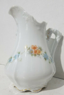 Antique Old Ivory Hermann Ohme Creamer Blue and Orange Flowers Germany